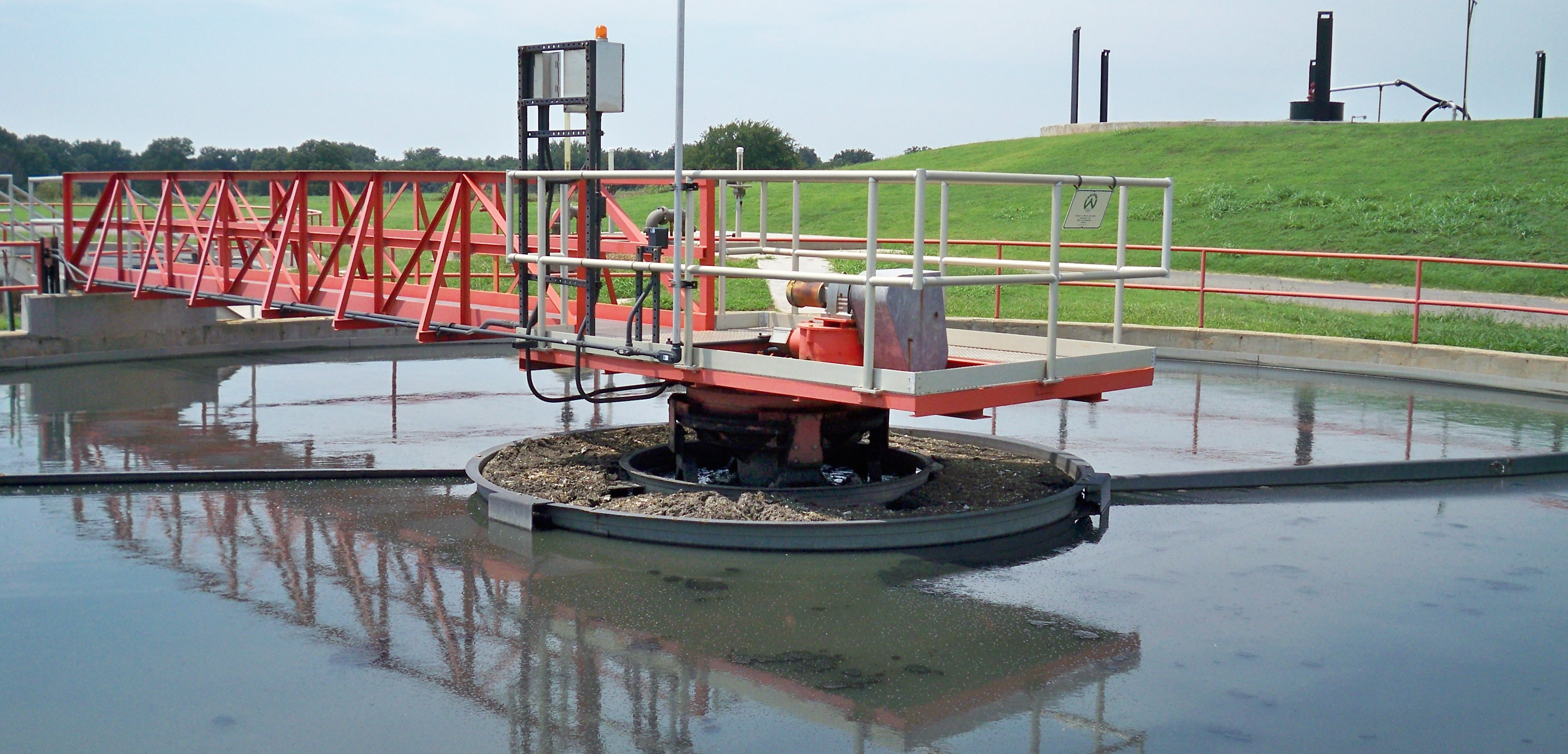 A picture of the primary clarifier for a wastewater treatment plant